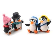 4PCS DIY Handwerk Mini Winter Pinguin Miniatur Figur Weihnachten Figuren Für Fee Garten Gnomes Moos Terrarien Dekoration Figuren & Miniaturen    -