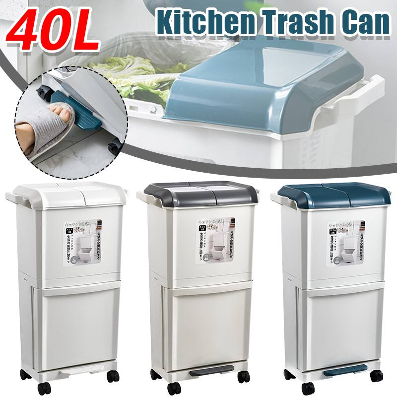 40L المنزل المطبخ سلة المهملات تخزين دلو 2 طبقات المنقولة الرطب الجاف فصل سلة مهملات الزاوية سلة النفايات حاوية القمامة الفرز