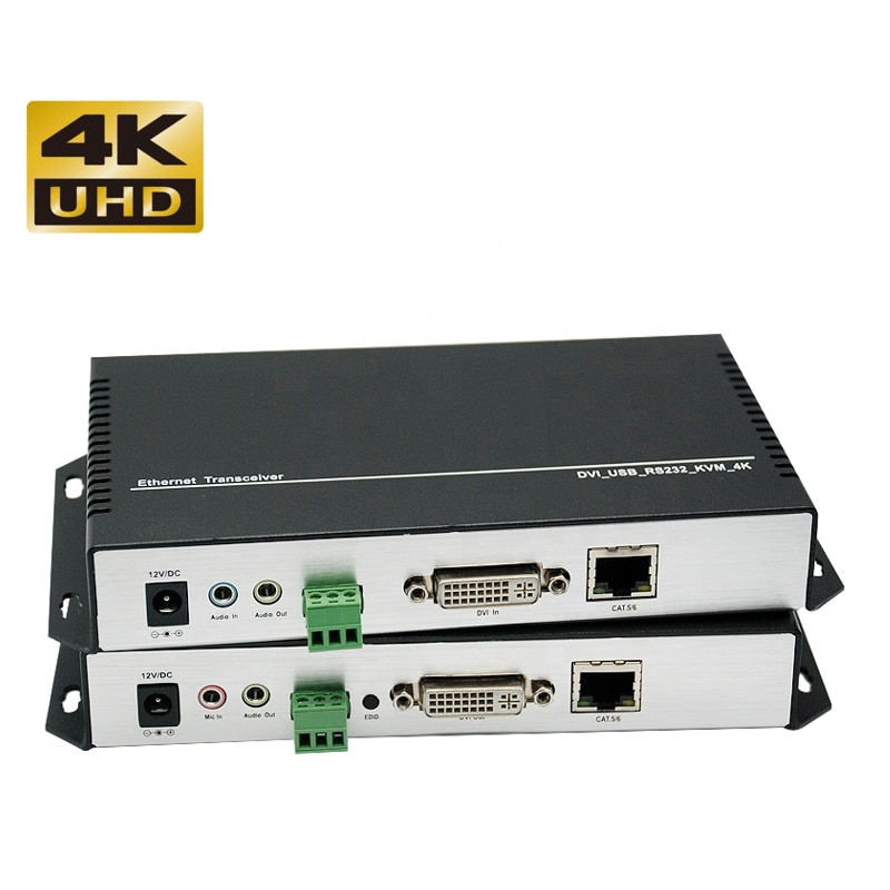4K@30Hz DVI KVM extender dvi signal to rj45 network cable amplification transceiver twisted pair network 120M enlarge