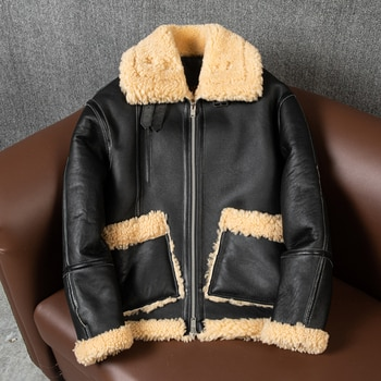 2021 Latest Sheepskin Fur Leather Coat Lapel Windproof and Warm Oversize European and American Retro Leisure Winter Style