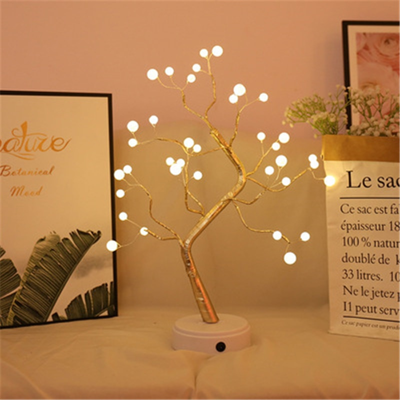 skidproof christmas lighting tree pattern rug USB LED Night Light Mini Christmas Tree Copper Wire Garland Light Bedroom Decoration Fairy Tale Lighting Holiday Lighting