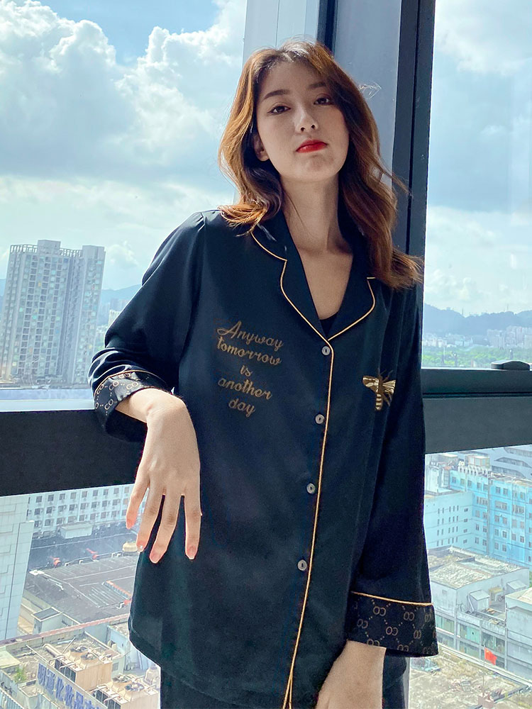 Pajamas womens 2021 new long sleeve ice silk spring and autumn wear home clothes summer suits