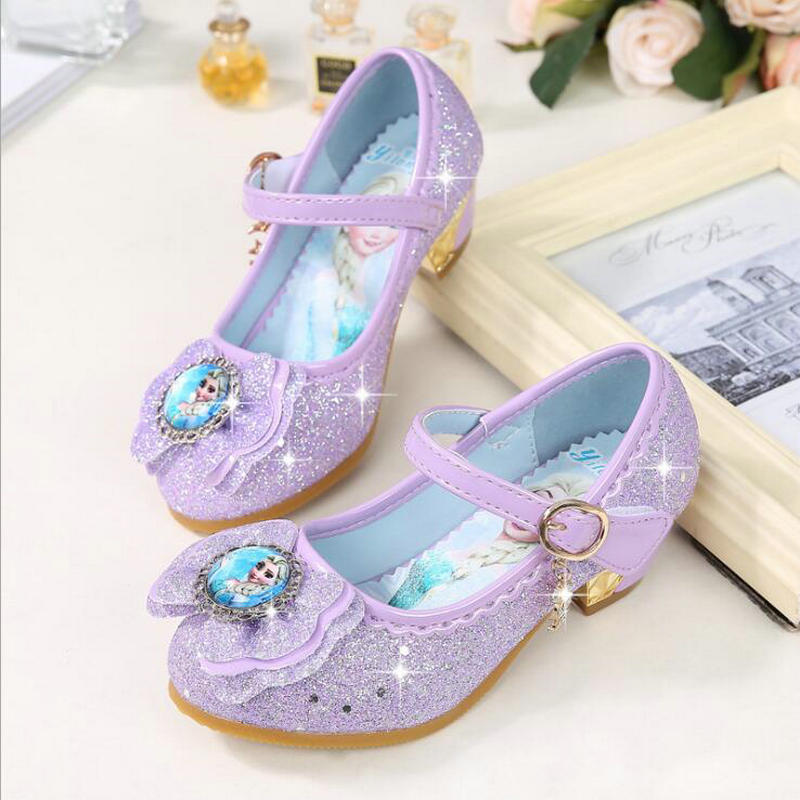 eu 24- 36 Princess Kids Leather Shoes For Girls Flower Casual Glitter Children High Heel Girls Shoes Butterfly Knot Blue purple
