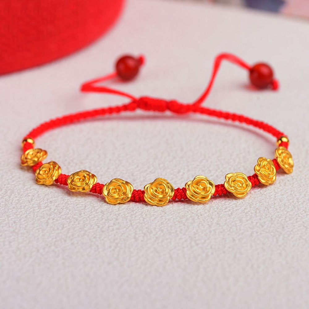 حقيقي 24K الذهب الأصفر ثلاثية الأبعاد الحرفية روز زهرة الأحمر الحبل نسج سوار امرأة/غرامة مجوهرات