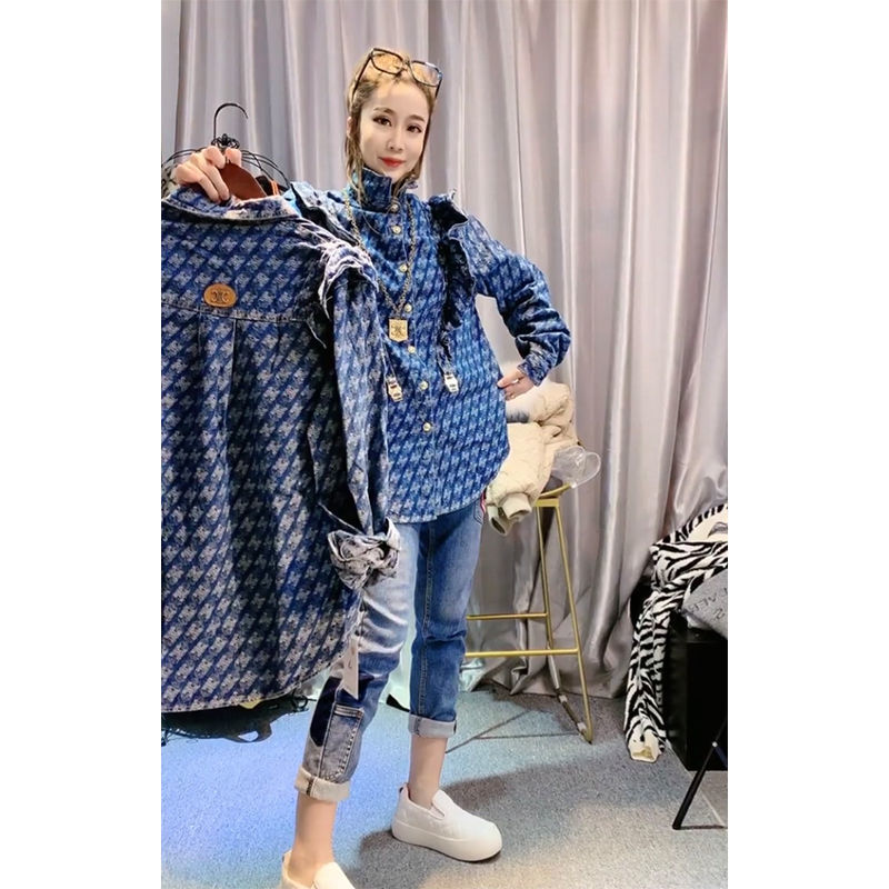 2021 Spring New Personalized Wooden Ear Printed Denim Shirt Women's Korean-Style Loose Fashion Western Style Slimming Shirt