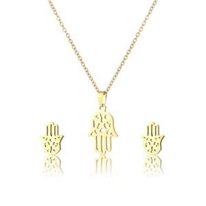 Small Stainless Steel Buddha Peace Palm Fatima Hamsa Hand Gesture Pendant Necklace Earring Set Choker For Women Femme Jewelry