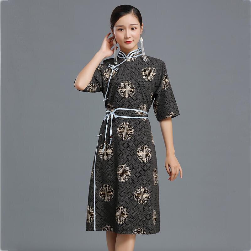 Vestido cheongsam retro mongol estampado de verano para mujeres vestido étnico Qipao traje tradicional nacional clásico oriental