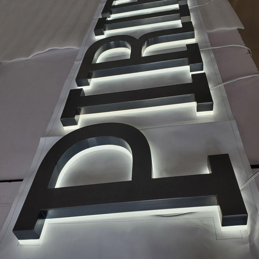 brushed galvanized stainless steel channel letter backlit sign letter