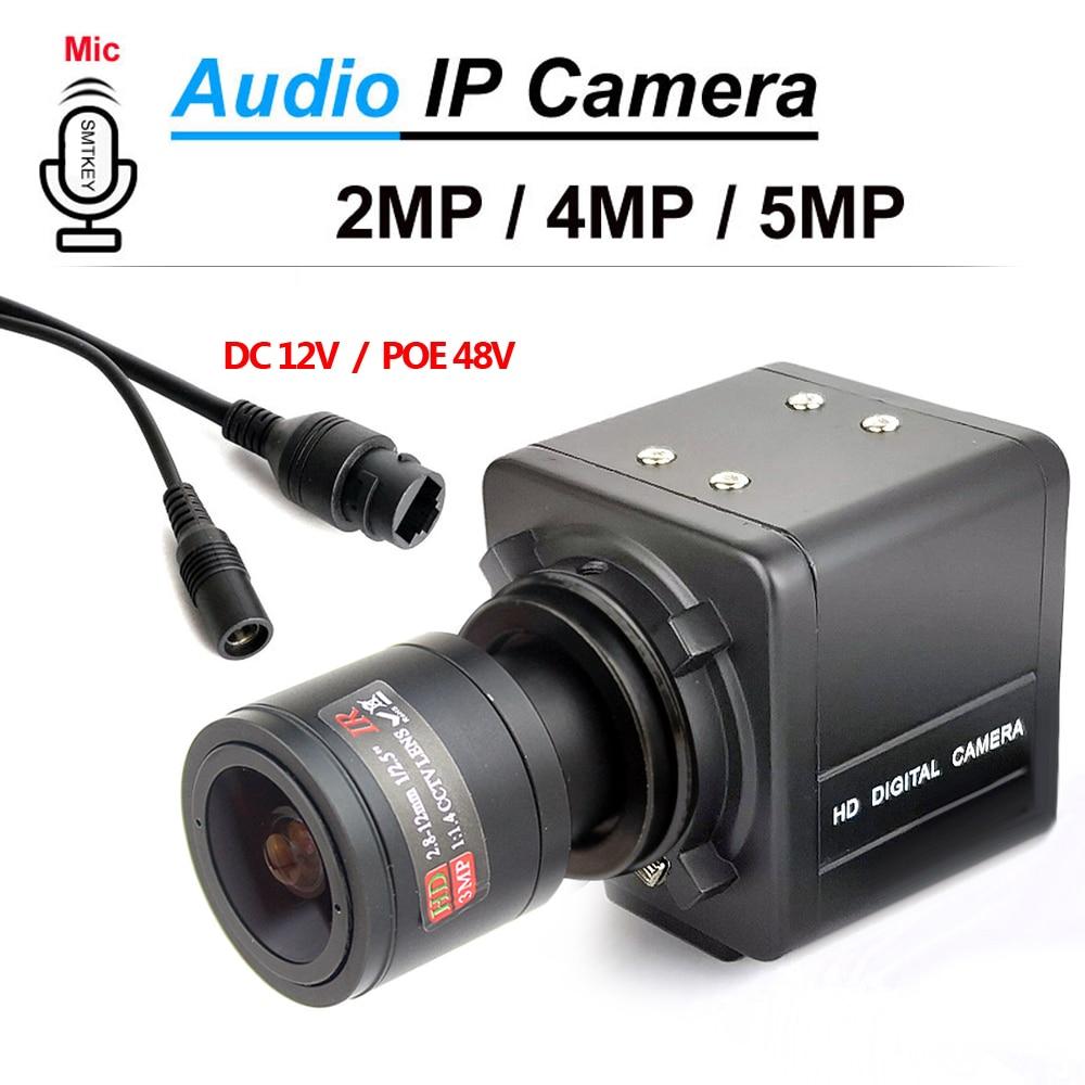 SMTKEY H.265 الحركة كشف الصوت mic Onivf 5MP POE أو 12V 2.8-12 مللي متر IP كاميرا 1080P 2MP 3MP 5MP المعادن مربع IP شبكة كاميرا