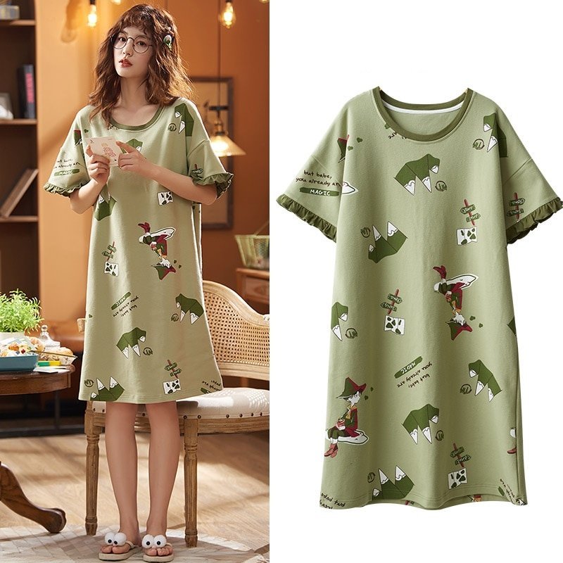 2021 Short-sleeved Women's Sleepwear Cotton Night Gowns Summer Cartoon Nightgowns Home Wear Girls Sl