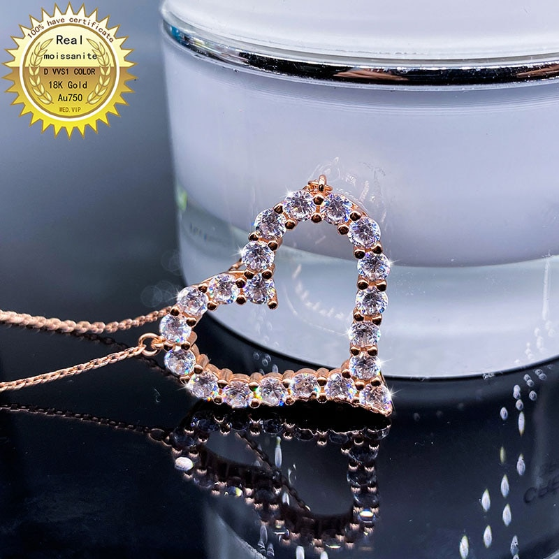 الصلبة Au750 18K الذهب قلادة مويسانيتي الماس DVVS اللون مع شهادة الوطني 1019