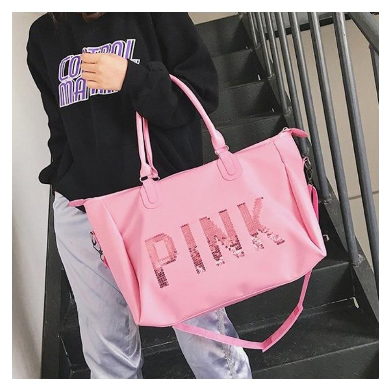 Saco de viagem novo rosa saco 2019 moda portátil saco de viagem bagagem grande capacidade saco de esportes fitness yoga