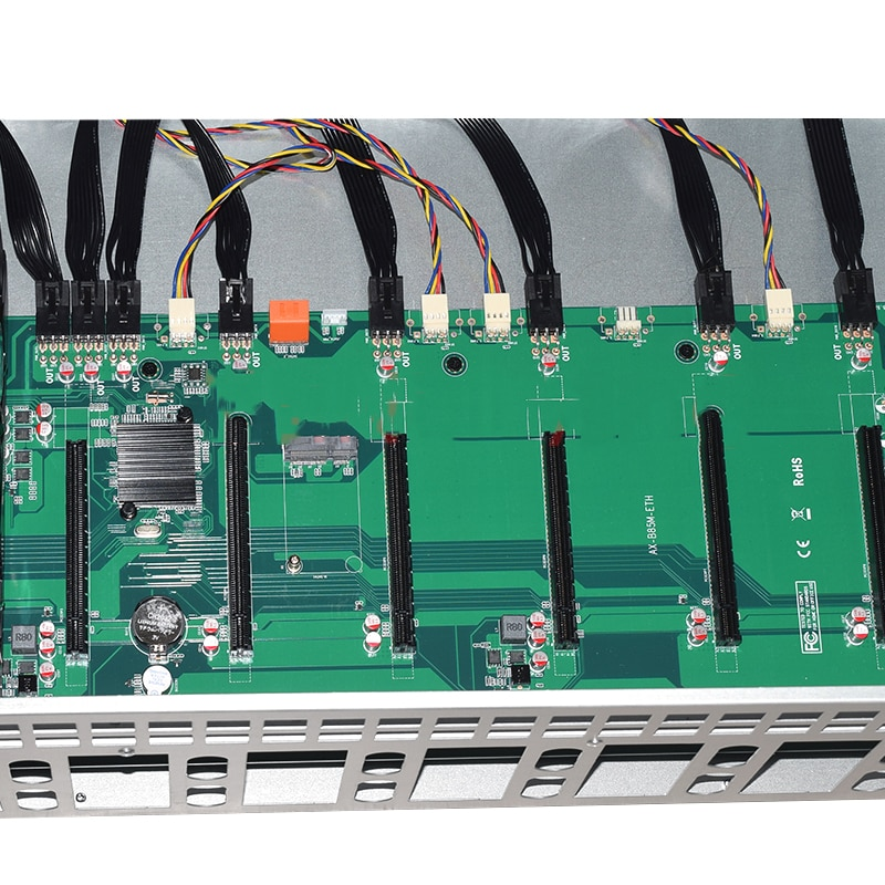 NEW 8 GPU ETH Mining platform B75 Motherboard 65MM Card distance Thickened Electrolytic Board Chassis 2000W Power Supply