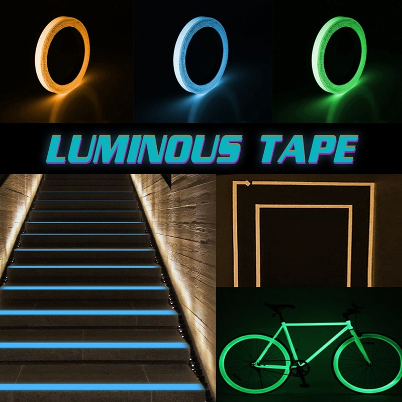 flash deal colorful reflective tapes glow self adhesive sticker luminous fluorescent glowing tapes dark striking warning tape Colorful Glow Tape Self-adhesive Sticker Removable Luminous Tape Fluorescent Glowing Dark Striking Night Warning Luminous Tape