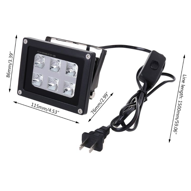 60 واط 40nm 6 UV LED الراتنج مصباح علاجي للطابعة SLA DLP ثلاثية الأبعاد الولايات المتحدة/المملكة المتحدة/الاتحاد الأوروبي/الاتحاد الافريقي H052
