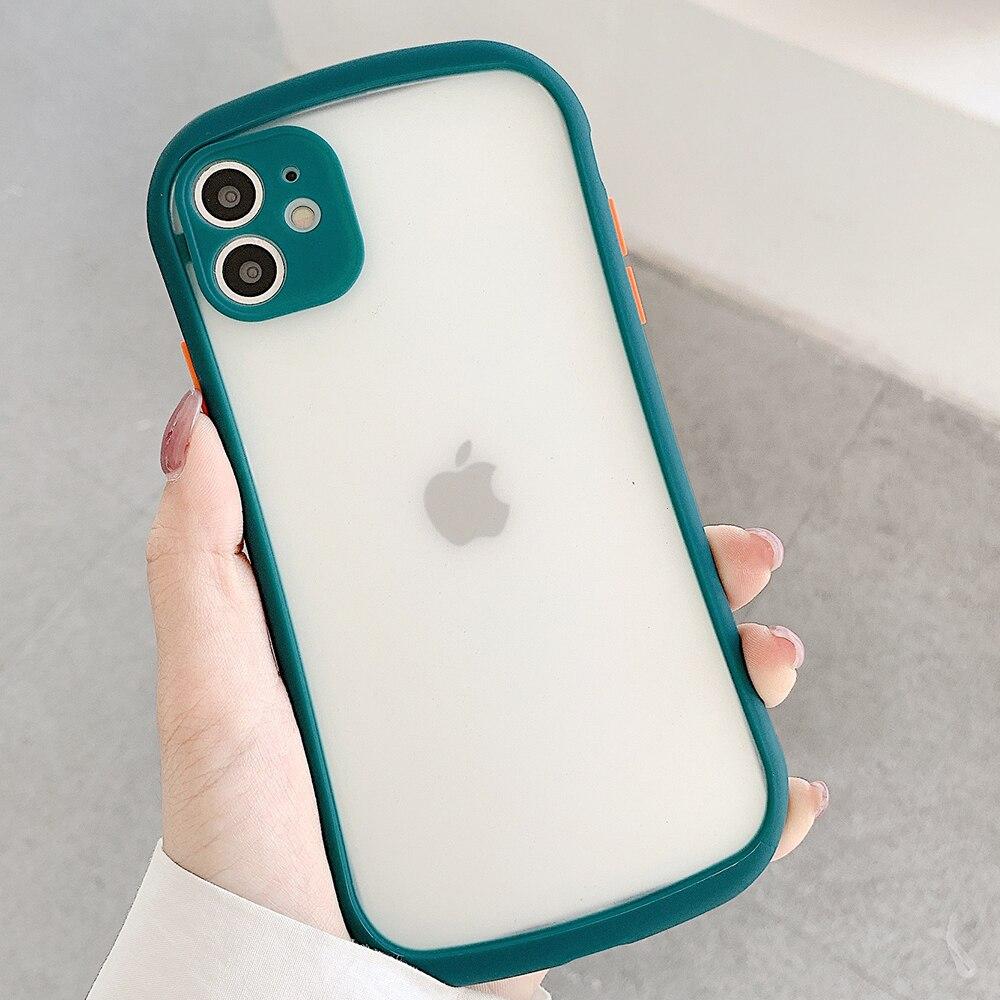 Lujosa funda a prueba de golpes para iPhone 11 Pro Max, funda X Xr Xs Max 7 8 Plus SE 2020, fundas de teléfono mate translúcidas de silicona