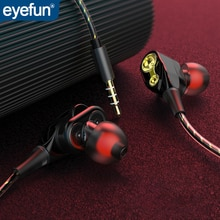 Проводные наушники eyefun, наушники fone de ouvido, проводные наушники auriculares in ear, стерео наушники, проводная двойная гарнитура, подвижное кольцо