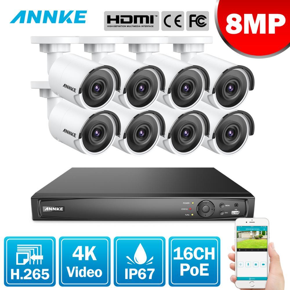 ANNKE 16CH 4K Ultra HD POE sistema de vídeo de red de seguridad 8MP H.265 NVR con 8X 8MP 30m EXIR visión nocturna cámaras IP a prueba de intemperie