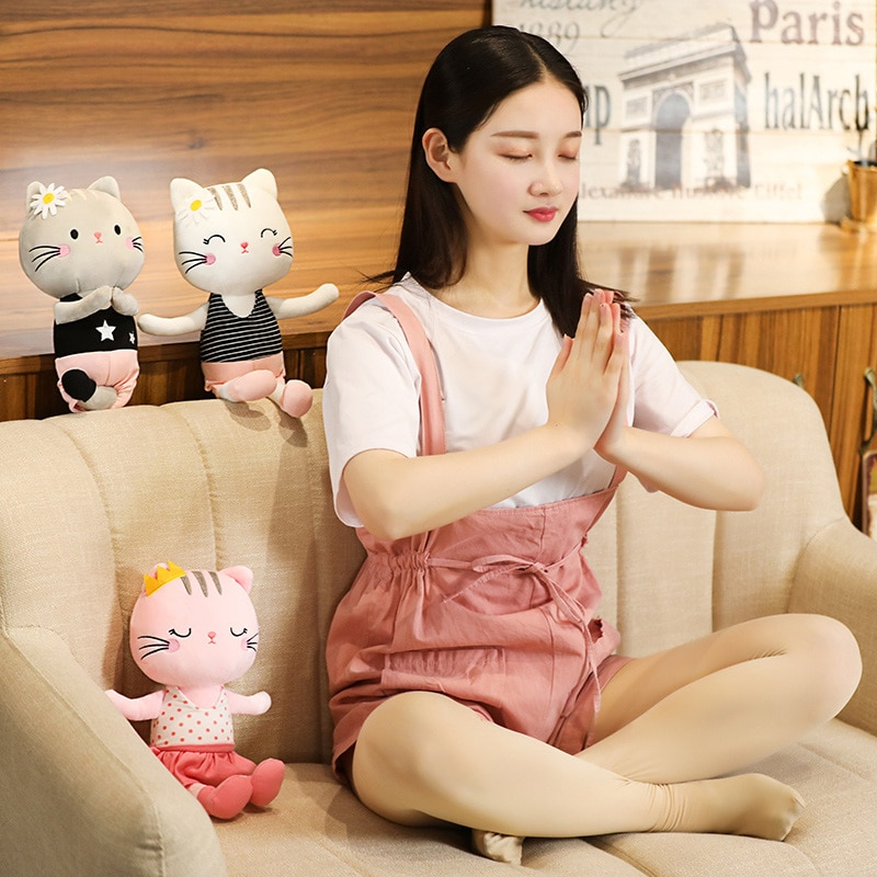 Hot Nice Huggable Lovely Cute Stuffed Soft Plush Pillow Kawaii Yoga Cat Soft Plush Toys Kids Children Birthday Gift Dropshipping  - buy with discount