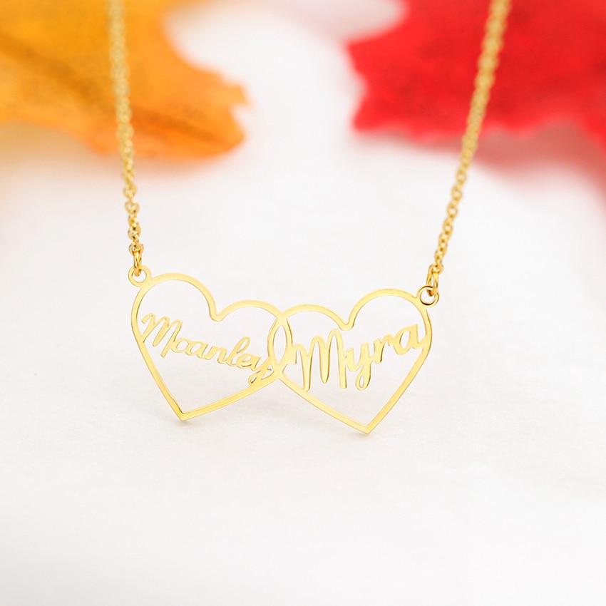 Collar romántico personalizado con colgante de doble corazón con nombre para pareja de amantes, collar gargantilla personalizado con placa de identificación, joyería hecha a mano