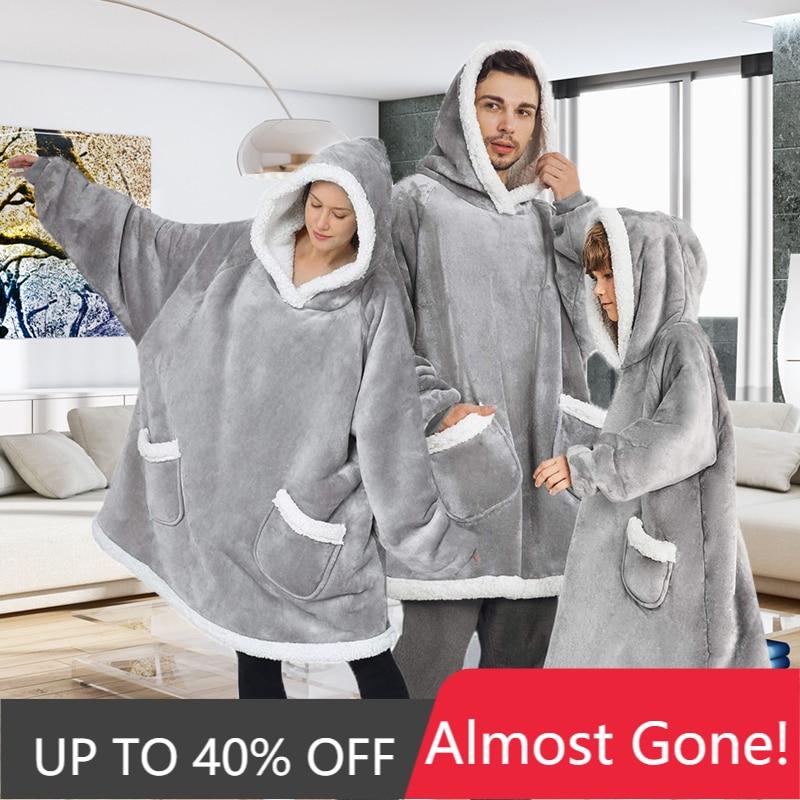 Пончо оверсайз, толстовка с капюшоном, женское одеяло, флисовые теплые гигантские толстовки, свитшоты, Женская худи, халат, женское пончо