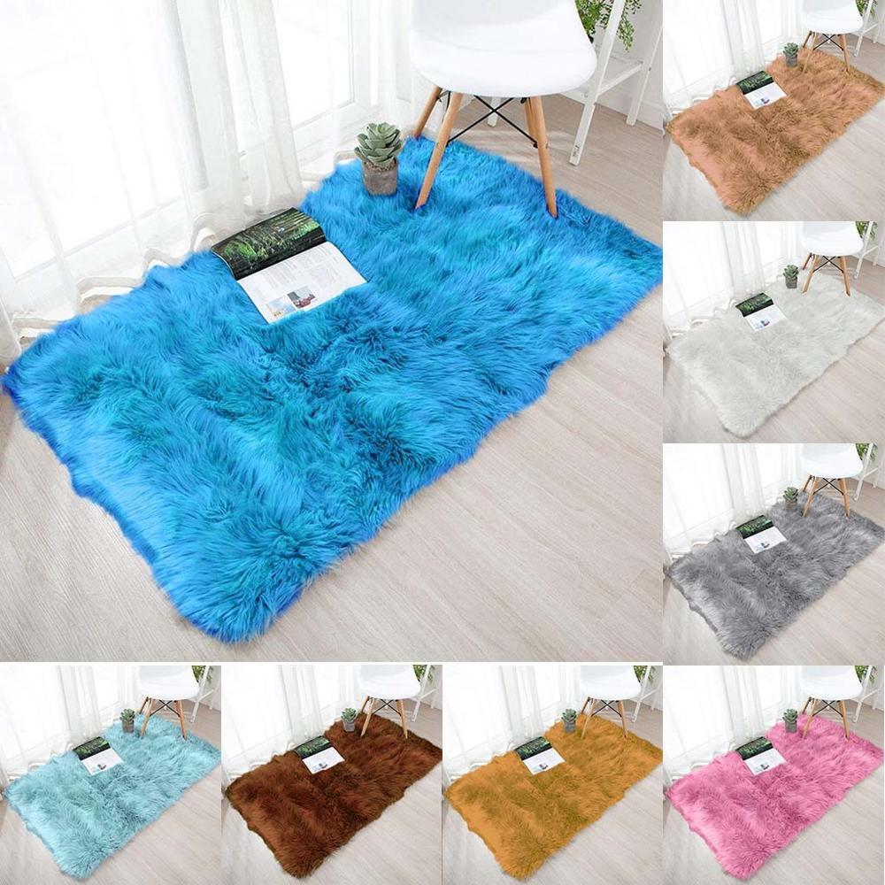 Alfombra de lana de imitación de piel de oveja alfombra antideslizante para...
