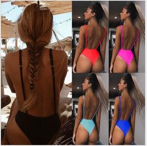 2020 Striped Swimwear One Piece Swimsuit Women Backless Monokini Swimsuit Sport Bodysuit Beach Bathing Suit Swim Biquini