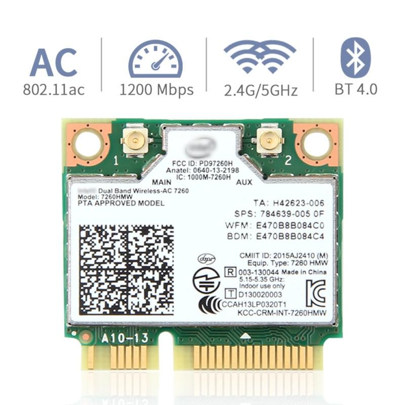 Dual Band Wireless Card For Intel 7260 7260HMW ac Mini PCI-E 2.4G/5Ghz Wlan Wifi Bluetooth 4.0 802.1