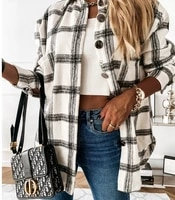 zogaa autumn spring long plaid shirt women casual white long sleeve pocket button up collared shirt top clothes fashion new 2021