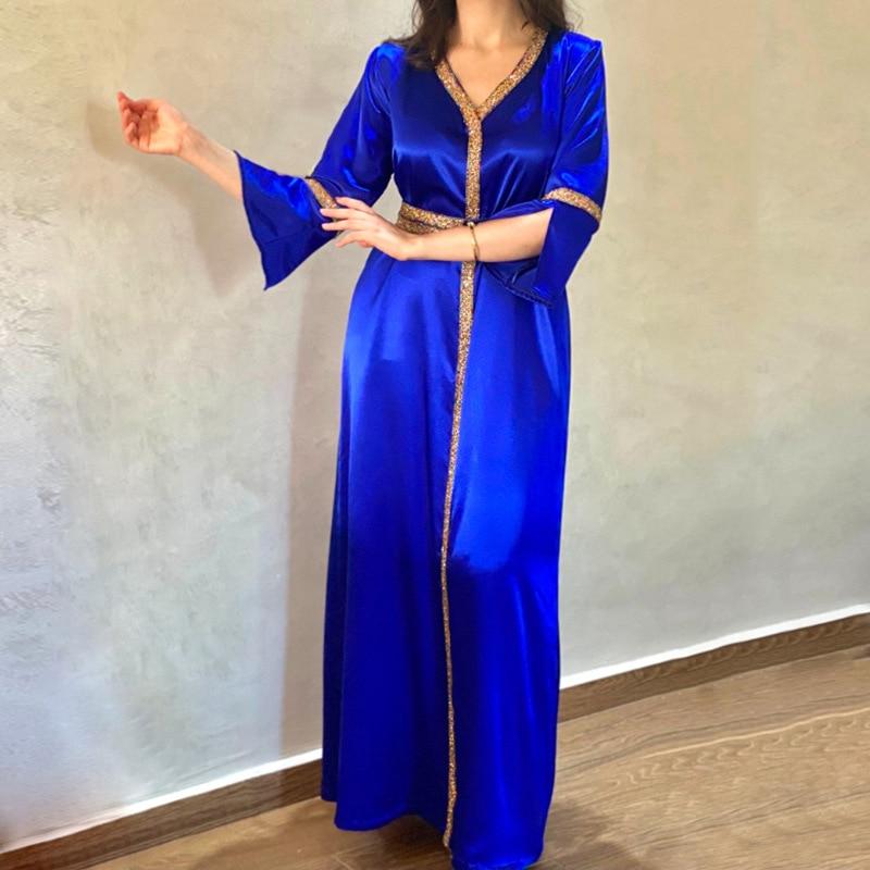 قفطان مغربي عباية دبي تركيا فستان ماكسي إسلامي عبايات عربية للنساء فساتين تركية أزرق جلابة نسائي