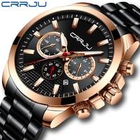 CRRJU Men's Watch with Three Dials Military Multi-function Watch Waterproof Quartz Men's Watch with Calendar Steel Band Watch