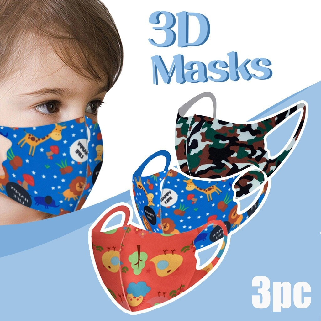 3 pçs crianças dos desenhos animados rosto máscaras de boca lavável reutilizável dustproof mascarilla respirável proteção boca muffle atacado