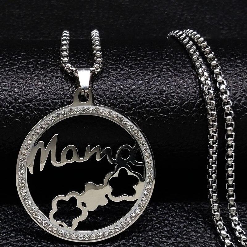 Collar de acero inoxidable con estilo para mujer, cadena de cristal de...