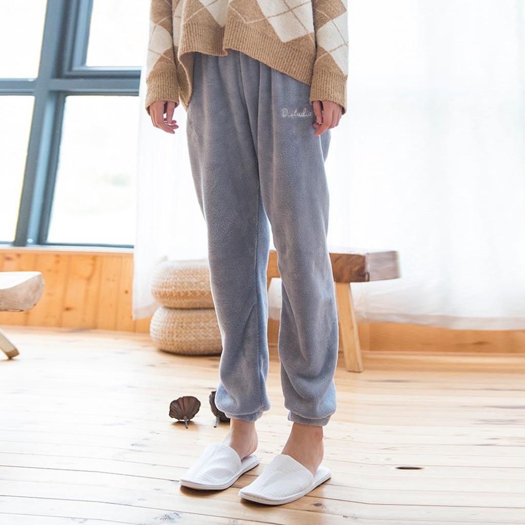 Veludo casa calças para as mulheres moda lounge wear feminino pijama calças de dormir estilo coral puro casa confortável f108
