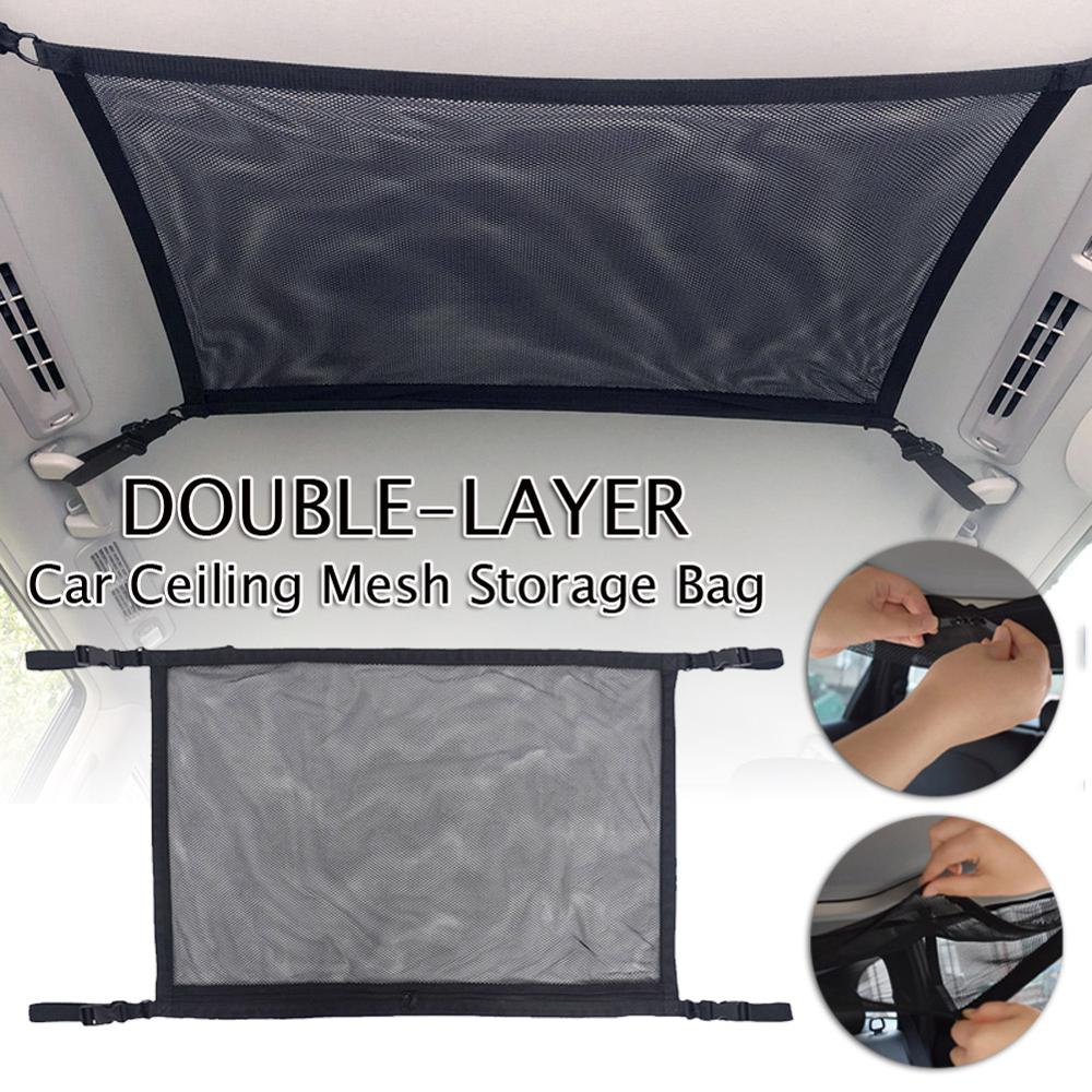 Car Ceiling Mesh Storage Bag Simple Breathable Zipper Adjustable Auto Stowing Tidying Interior Accessories