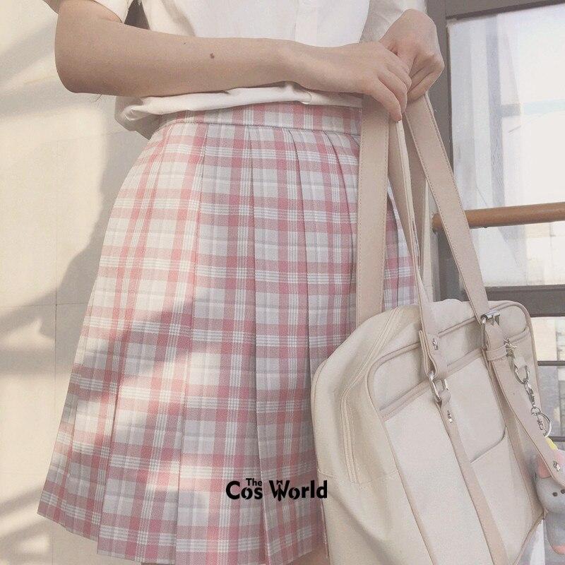 [Sakura] saias plissadas, saias xadrez de cintura alta para meninas, uniforme escolar, panos para estudantes