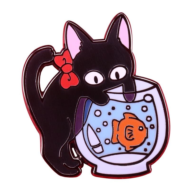 Zwarte Kat Boog Vissenkom Kijken Vis Zwemmen Emaille Broche