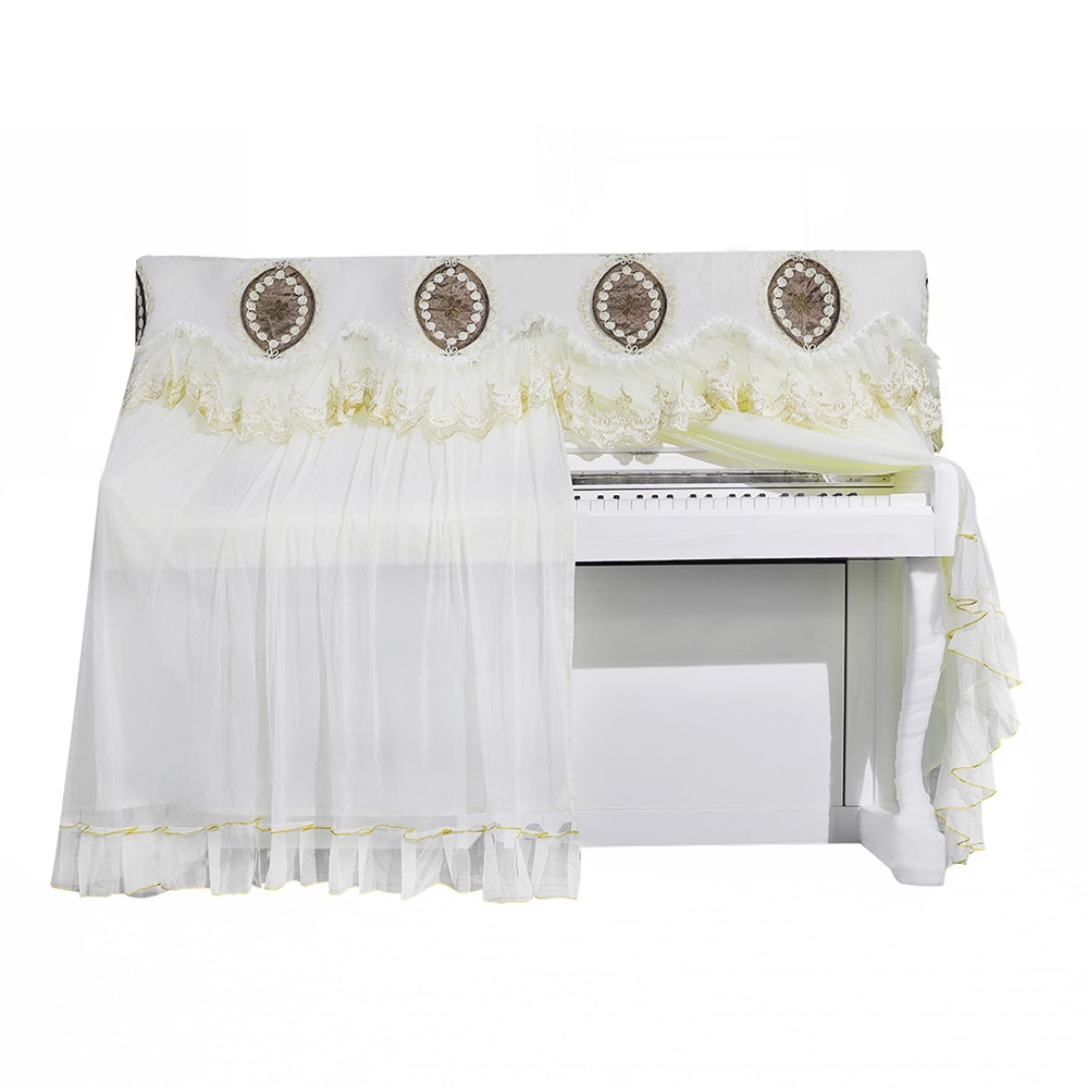 Quality Lace Piano Full Cover Upright Piano Beige Half Open Style Protector Dust Cover Elegant Keyboard Instrument Accessories enlarge