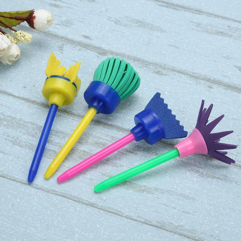 4 pçs plástico girar mop desenho esponja escova pintura desenho ferramenta escova presente interativo brinquedo terno casa diy acessórios