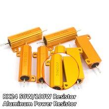 RX24 50W 100W Aluminum Power Metal Shell Case Wirewound Resistor 0.01R ~ 100K 1 6 8 10 20 200 500 1K 10K ohm resistance