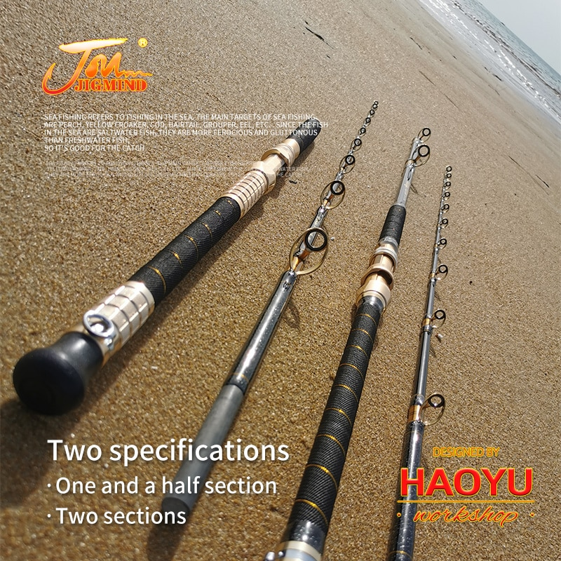 2.4m Lure Weight 500g To  2000g HAOYUworkshop Solid Glass Fiber Soltwater DeepSea Boat Fishing Rods Made In China enlarge