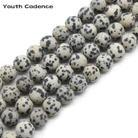 natural matte white black spotted stone beads round loose beads for jewelry making diy bracelet necklace15 4681012mm