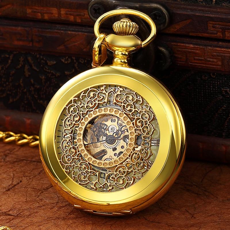 LED Light Night Luminous Mechanical Pocket Watch FOB Chain Locket Dial Hollow Steampunk Skeleton Men Women MensClock Watches