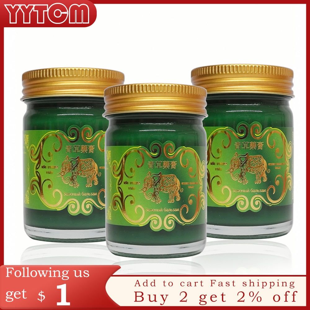 50g Gold Elephant Balm Thailand Grass Muscle Pain Relief Soothe itch mosquite bite for joints pain health care healthcare