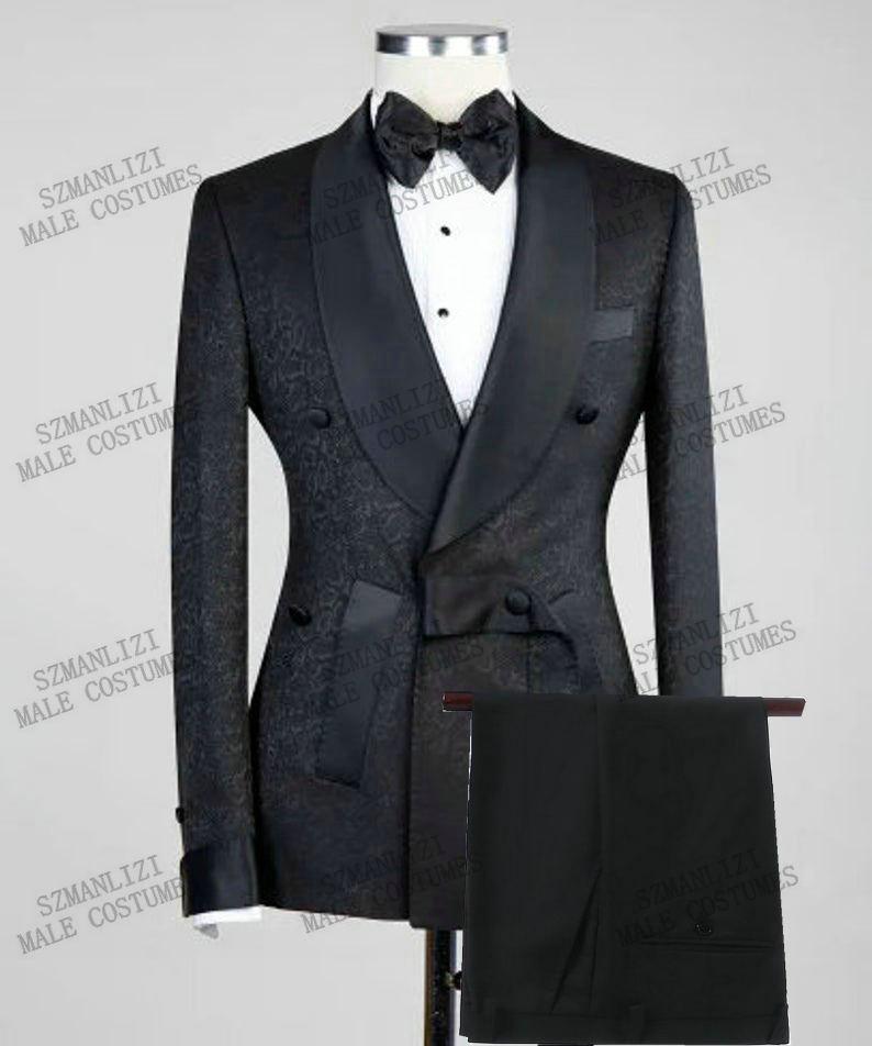 2021 تصميم عصري أسود الأزهار الرجال بدلة الزفاف مزدوجة الصدر سليم صالح حفلة موسيقية العريس سهرة العريس أفضل رجل السترة السراويل