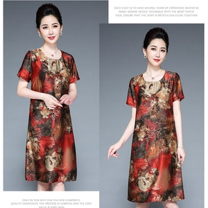 Silk dress female 100% mulberry silk Hangzhou silk women's loose large size middle-aged elderly fat mother Retro dress vvv