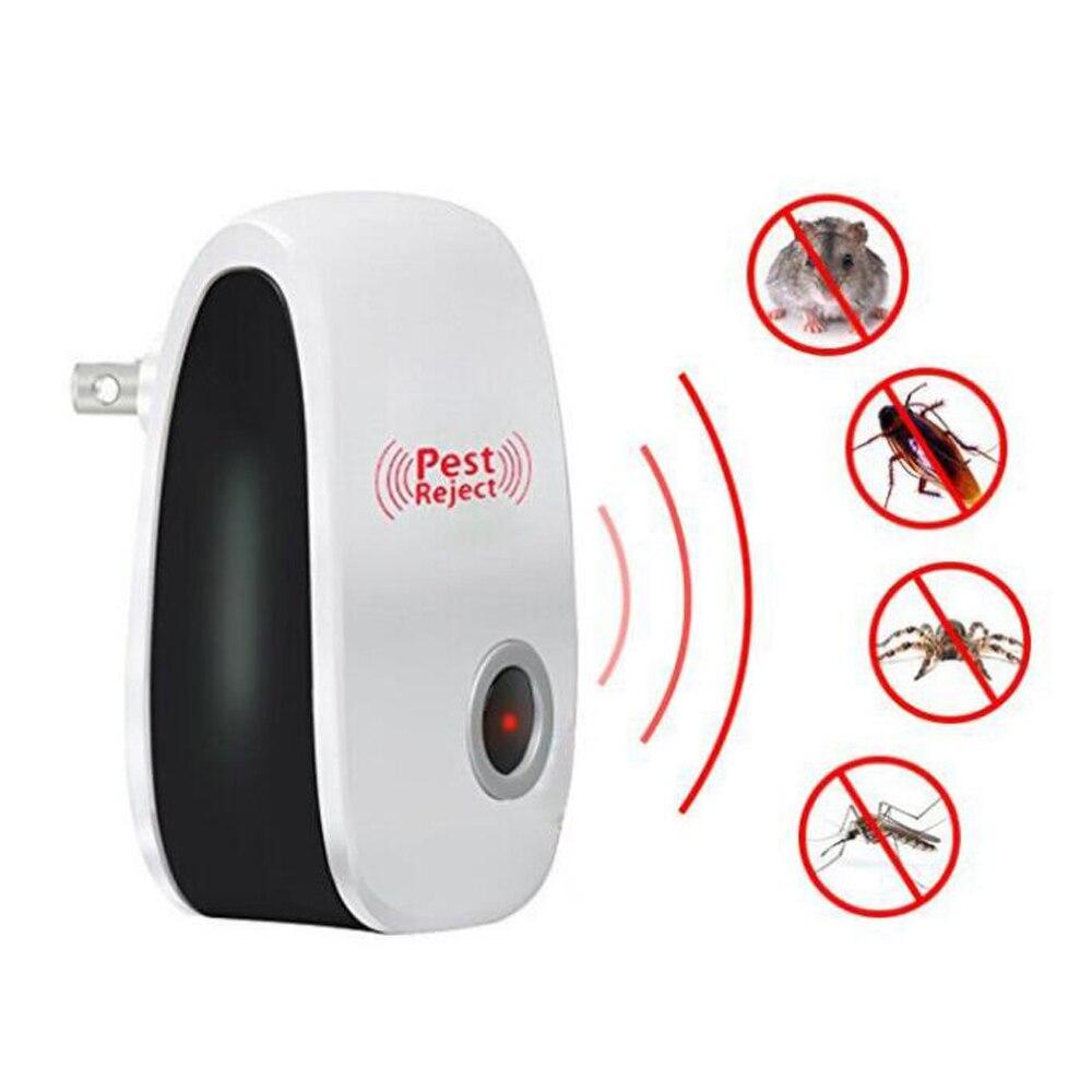 Versión mejorada, repelente de mosquitos e insectos ultrasónico electrónico para gatos, repelente de plagas, ratas, ratones y cucarachas, enchufe europeo/estadounidense