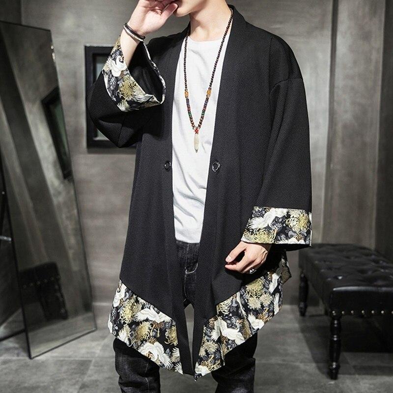 التقليدية الصينية بلوزة الذكور الكونغفو الملابس طباعة الشرقية ملابس الرجال كيمونو سترة الرجال المتضخم الصينية قميص KK2967