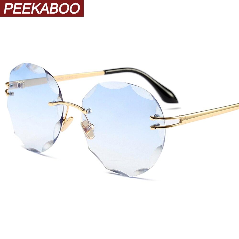 Peekaboo, gafas de sol redondas sin marco para mujeres, uv400, gafas de sol retro sin marco de metal para mujeres, accesorios transparentes azules transparentes