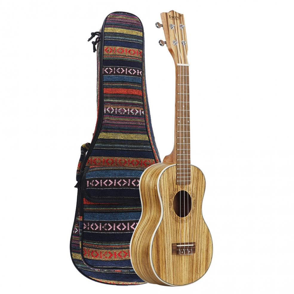 24 Inch Concert Ukulele Zebra Wood 18 Fret Four Strings Hawaii Guitar with Accessories Bag + Capo + Strap + String + Cloth enlarge